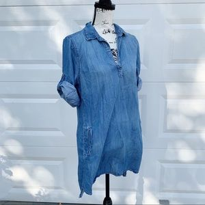 Anthropologie Cloth and stone chambray denim dress